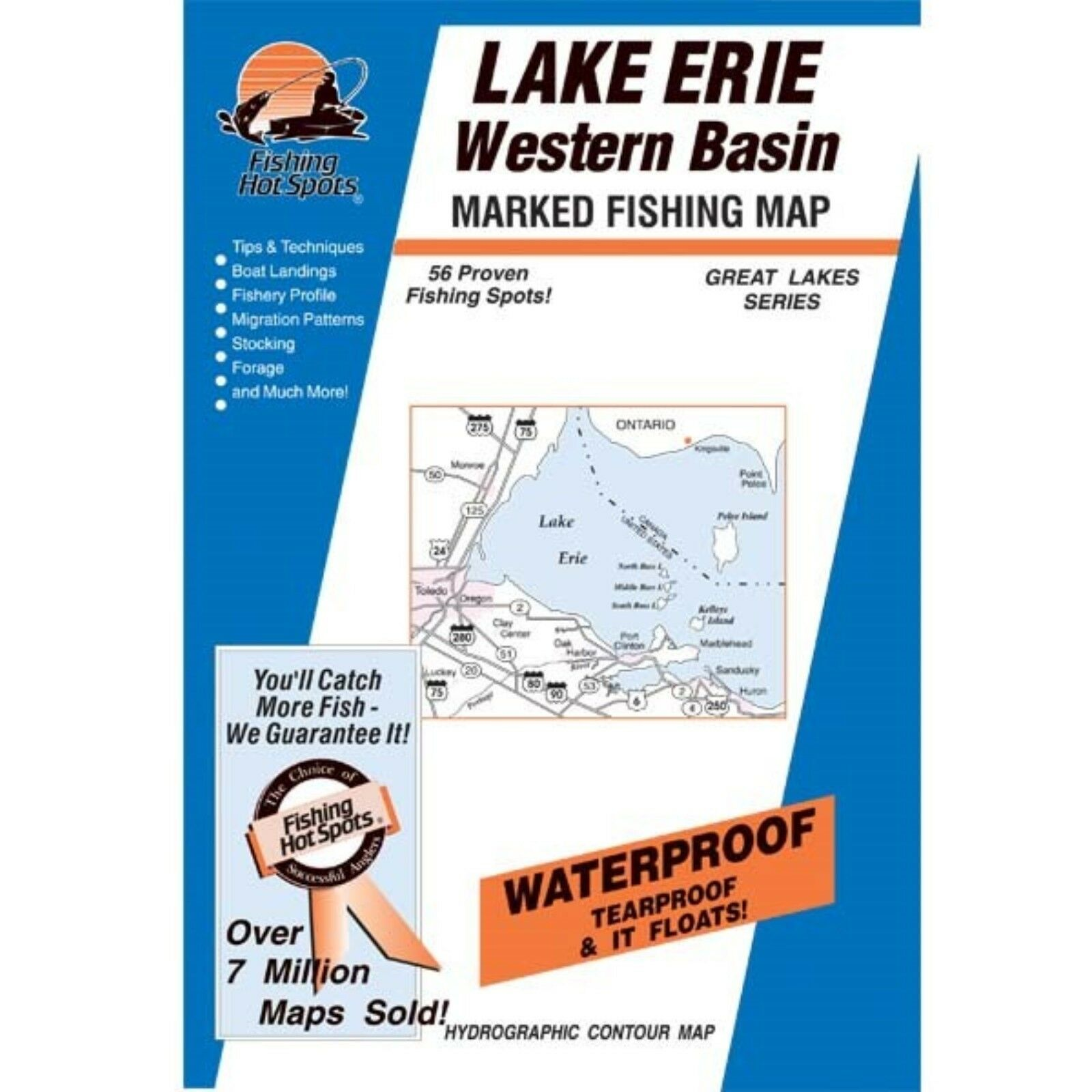 Fishing Hotspots M291 Ohio Lake Maps Lake Erie Bass Islands Area