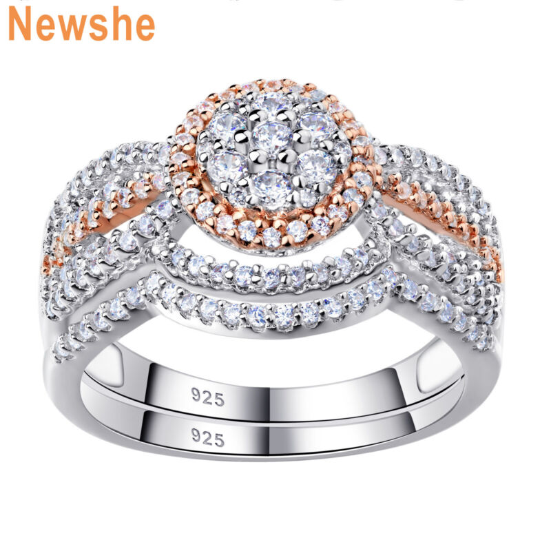 Newshe Engagement Wedding Ring Set Women Sterling Silver Aaaa Cz 1.7ct Rose Gold