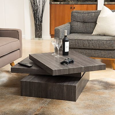 Modern Contemporary Black Oak Square Rotating Wood Coffee Table