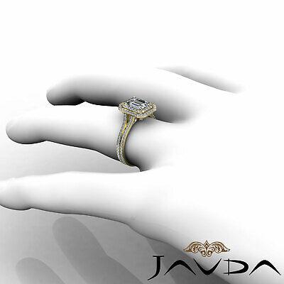 Double Halo Pave Split Shank Emerald Diamond Engagement Ring GIA H VS2 2.6 Ct 10