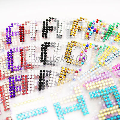 27 Letters Alphabet Stickers Rhinestones Self Adhesive Crystal Diamante Stick On ()