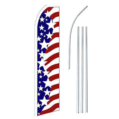 Usa Big Stars Advertising Sign Swooper Feather Banner Flag And Pole Only