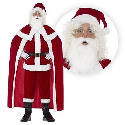 Deluxe Crimson Plüsch Weihnachtsmann Anzug Weihnachtsmann Kostüm Umhang - Deluxe Weihnachtsmann Anzug Kostüm