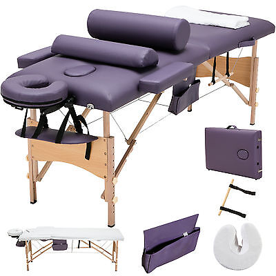 Purple Fold Massage Table Facial SPA Bed with 2 Pillow+Cradle+Sheet&Hanger