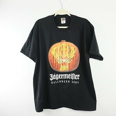 Jagermeister T Shirt Mens XL Black 2001 Halloween Beer Brewing Tee Pumpkin U6754