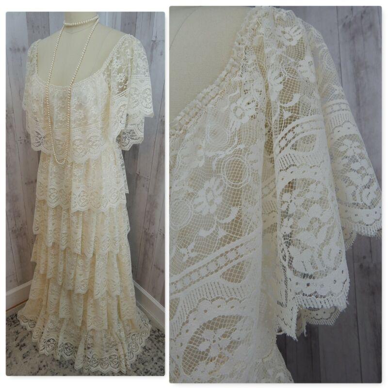 1970s Vintage Lace Wedding Gown~6Tier Mexican Hippie Boho Ivory Bridal Dress M/L