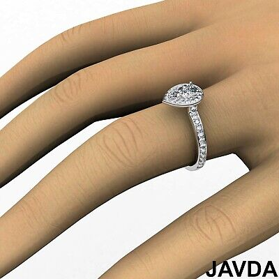Cathedral Halo Pave Set Pear Cut Diamond Engagement Ring GIA Color F VS1 1.17Ct 6
