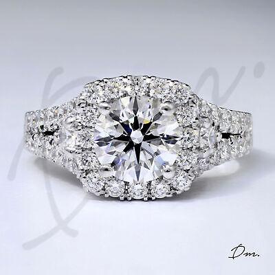 Natural 1.70 Tcw Round Cut Halo Split Shank Diamond Engagement Ring, H VS2 - GIA