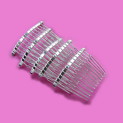 5 x Small Beadable Metal Hair Combs / Silver Colour / Bridal / Accessories