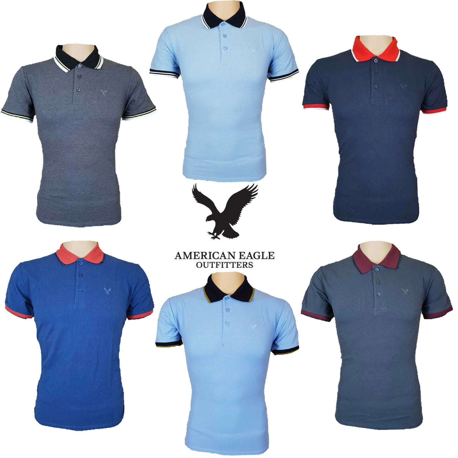 American Eagle Polo T Shirt Outfitters Mens Pique Cotton Designer New Top Tee