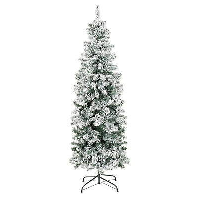 BCP Snow Flocked Artificial Pencil Christmas Tree w/ Stand