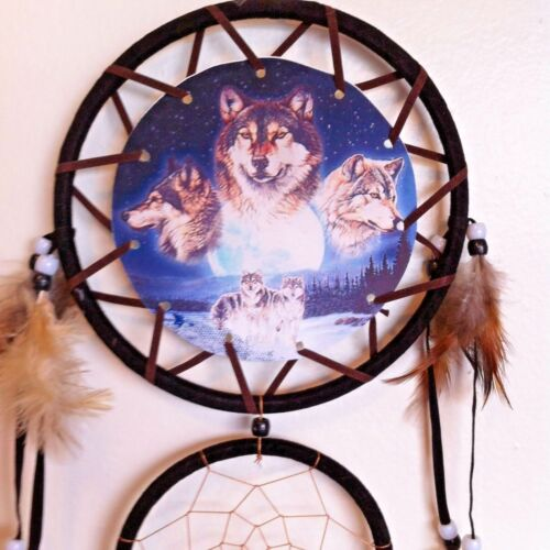 Cherokee Black Dream Catcher, Wolves Printed on Canvas, Feathers, Beads