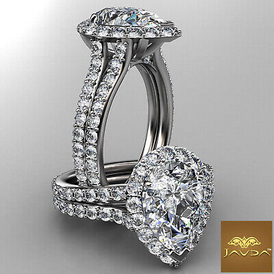 Halo Pave Set Pear Diamond Engagement Wedding Ring GIA I Color VS2 Clarity 2.3Ct