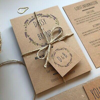 LAVENDER WEDDING INVITATIONS / RUSTIC VINTAGE FLORAL INVITES / WHIMSICAL  Lavender Wedding Invitations