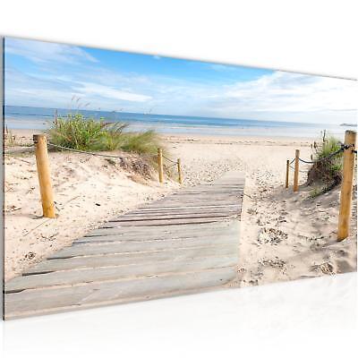 Bild Bilder Wandbild XXL 100x40 cm Strand - Kunstdruck Leinwand Vlies - Wanddeko