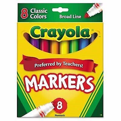 Crayola  Non Washable Markers  Broad Line  Classic Colors  8 Set 071662077082