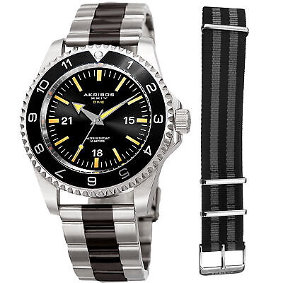 Men's Akribos XXIV AK1002TTB Quartz Diver Silver/Black Stainless Steel Watch Set
