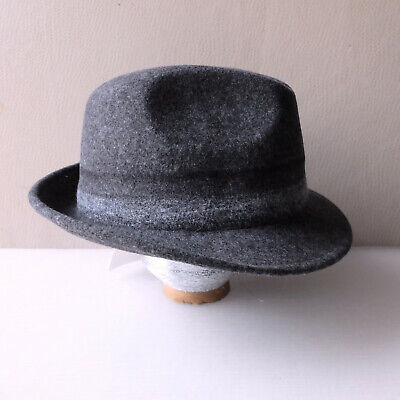 Paul Smith Mens Sexy Dapper Hat Gray Needle Punch Wool Fedora Hat (M) NWT $175