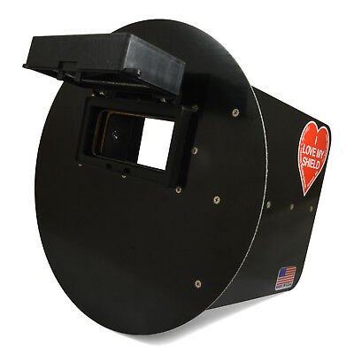 Wendys Pancake Welding Hood Helmet W Strap - Right Handed - Black Flip Up Lens