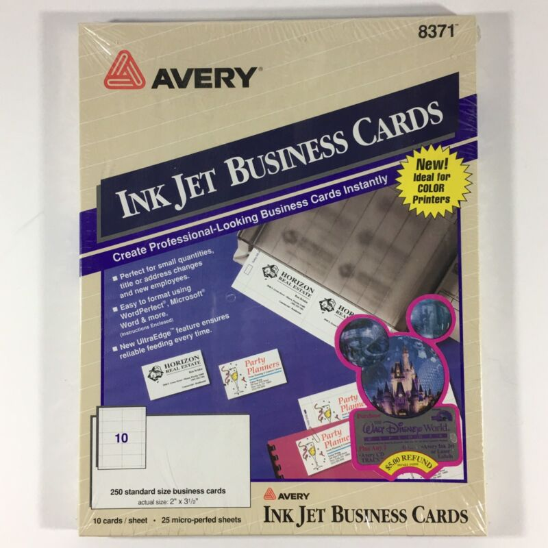 New Avery 8371 Ink Jet Business Cards 10 pages 250 cards 2in x 3-1/2in