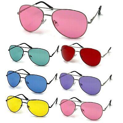 Color Tinted Lens Pilot Frame Men Women Tint Sunglasses Glasses Retro (Tinted Sunglasses For Men)