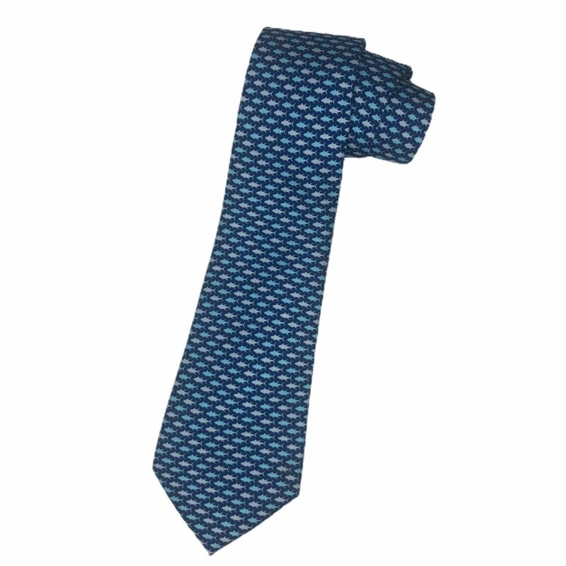 Vineyard Vines Boys Youth Blue Ocean Fish Design 100% Silk Necktie Tie