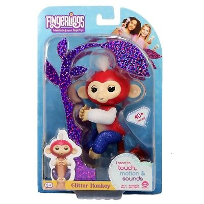 Fingerlings Glitter Monkey Red White   Blue Liberty Interactive