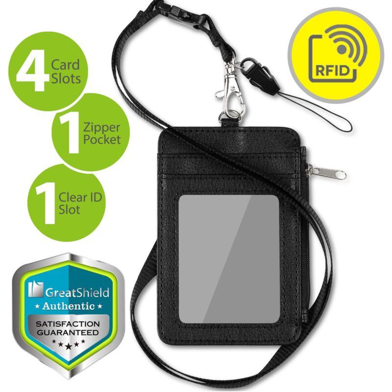 [rfid Blocking] Badge Id Card Holder Pu Leather Wallet Clip Neck Strap Lanyard
