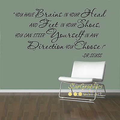 DR. SEUSS YOU HAVE BRAINS IN YOUR HEAD WORDS QUOTE WALL ART STICKER HOME DECOR  ()
