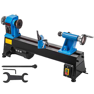 10 In. X 18 In. 5 Speed 12 Hp Cast Iron Benchtop Wood Lathe Diy Hobby Tool