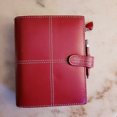 Franklin Covey Red Leather Snap Close Heart Pendant Pen Day Planner Cover