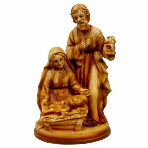 Mary Joseph Baby Jesus Nativity Figurine Resin Wood Design Christmas Decor Gift