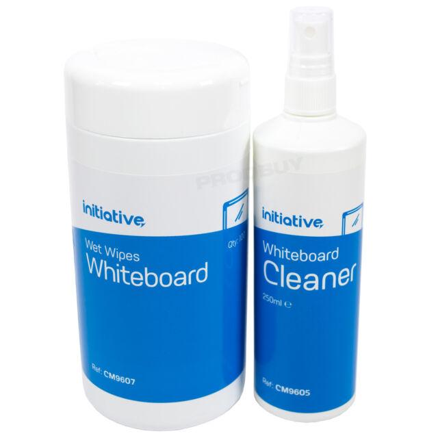 2 piece Whiteboard Cleaner Kit Wet Wipes Spray Bottle Dry Wipe Pen Remover Set