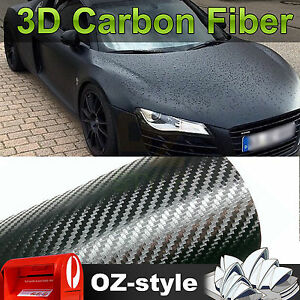 1.51 x 2M Carbon Fiber Car Vinyl Film 3D Black Sheet Wrap Sticker Decals DIY OZ