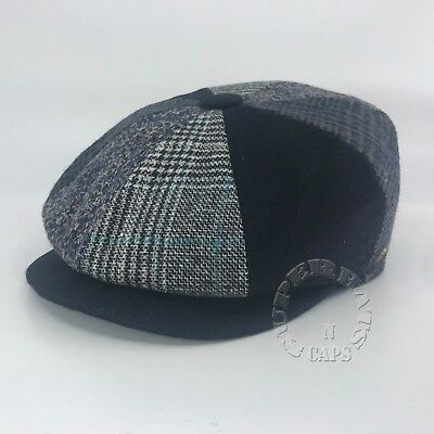 Men's Cabbie Newsboy Applejack Ascot Patch Work Wool Ivy Hat Multi Color Blue