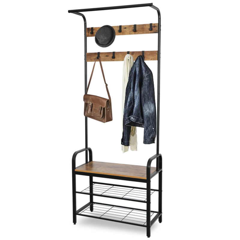 3-in-1 Entry Coat Rack Hall Tree Bench with Hooks Entryway Shoe Bench Coat Rack