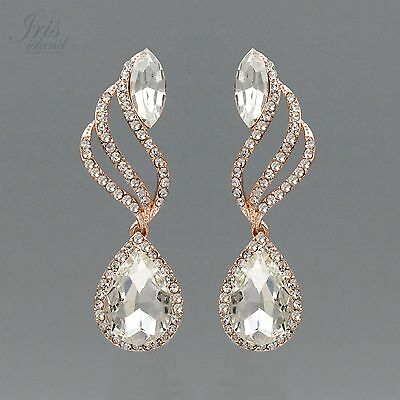 ROSE GOLD Plated Clear Crystal Rhinestone Wedding Drop Dangle Earrings 2083 Prom - Gold Clear Crystal