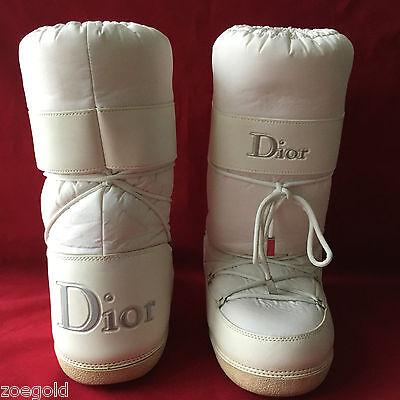 Vintage Christian Dior White Nylon   Leather Moon Apres Ski Snow Boots 38 40