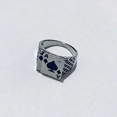 Men's Size 10 Jack Ace Spade Silver Tone Stainless Steel Poker Game Large Ring