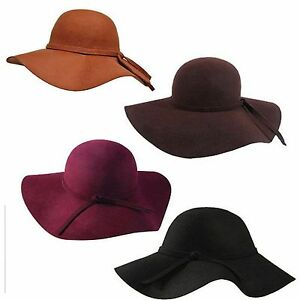 Womens-New-100-wool-wide-brim-crushable-floppy-cloche-hat-5-colors