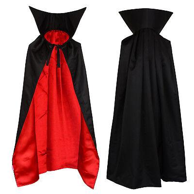Vampir Umhang mit Stehkragen Cape schwarz rot für Kinder 1m lang Mantel  ()
