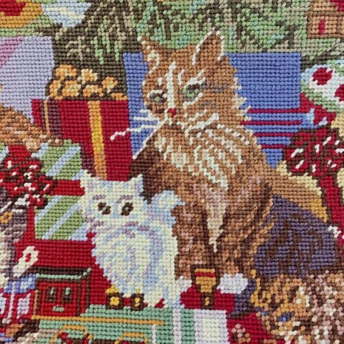 "Cat Needlepoint Pillowcase Cats Christmas 13"" Square Velveteen Back w/Zipper"