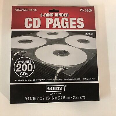 Vaultz Two-sided Cd Refill Pages For Three-ring Binder 20pack Vz01401