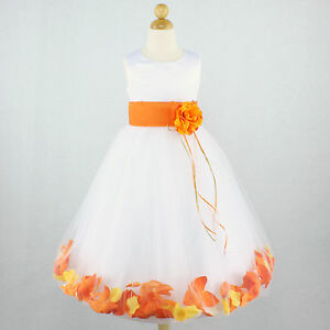 Orange white bridal wedding flower girl dress petals for White and orange wedding dress