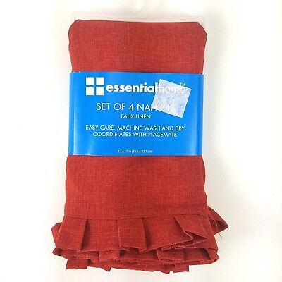 Pleated Faux Linen Cloth Napkins 4-Pack Brick Red 17