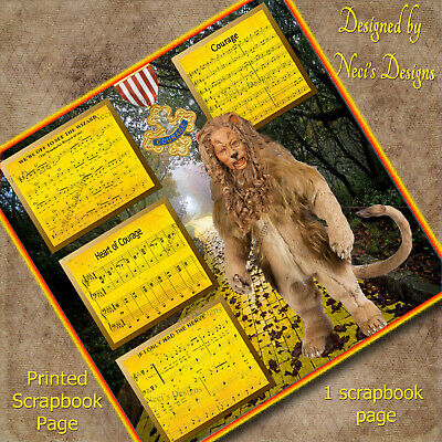 The Lion of The Wizard of OZ Lacks Courage Scrapbook Page - Handcrafted Art