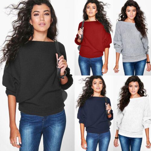 Damen Fledermausärmel Sweater Pullover Sweatshirt Strickpulli Baggy Oberteile 42