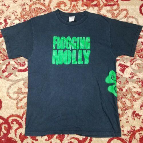 Flogging Molly 2004 Green Spray Paint Shamrock Faded Black T-Shirt L