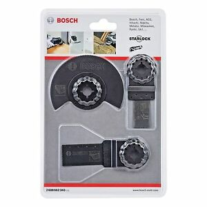 BOSCH 3 Piece Starlock Wood/Metal Steel Multi-Tool Function Blade Set,2608662343