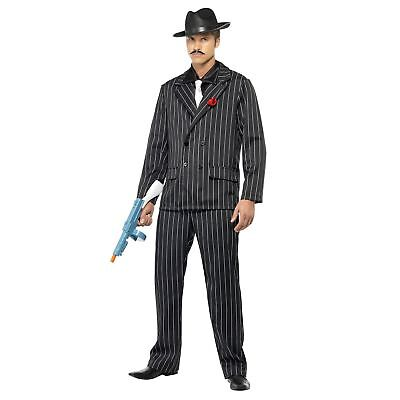 20s Mafia Gangster Gangsta Zoot Suit Rose Adults Mens Fancy Dress Costume